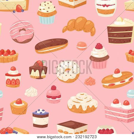 Cake Vector Chocolate Confectionery Cupcake And Sweet Confection Dessert With Caked Candies Illustra