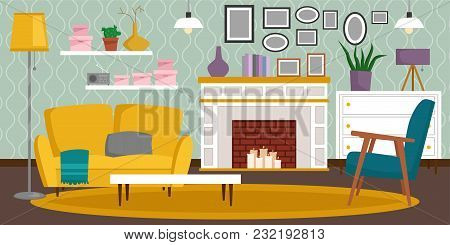 VIP vintage interior furniture rich wealthy house room with sofa set brick wall background vector illustration. Classic retro antique luxury apartment indoor. poster