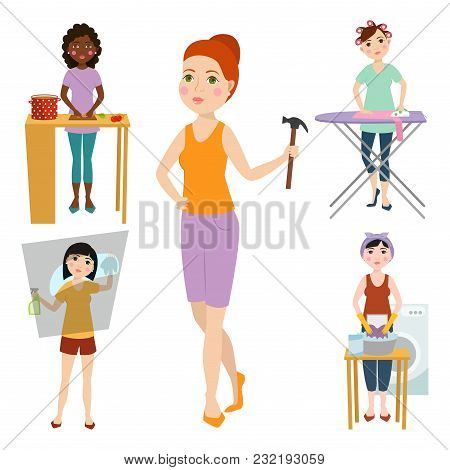 Housewifes Homemaker Woman Cute Cleaning Cartoon Girl Housewifery Female Wife Housework Character Ve