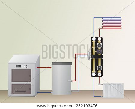 Solid Fuel Boiler In The Heating System. Vector Illustration. The Hvac Equipment. Hydraulic Strappin