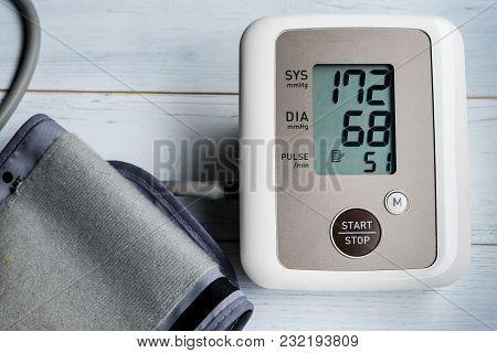 Blood Pressure Gauge Show  Hypertension Or High Blood Pressure.