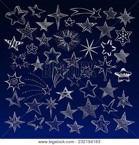 Set Of Hand Drawn Doodle Silver Stars And Comets Icons Collection On A Night Sky Background. Kids St