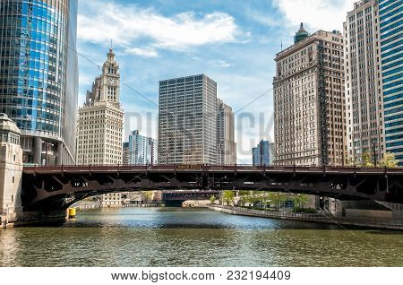 View Of Chicago Cityscape From Chicago River, Illinois, United States