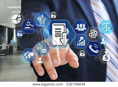 The Businessman Chooses Document Management System, Dsm On The Virtual Screen In Social Network Conn