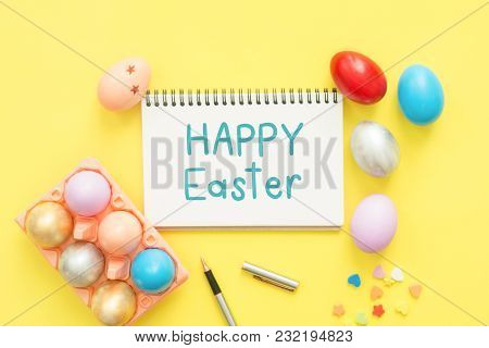 Flat Lay Top View Colorful Easter Egg Painted In Pastel Colors Composition And Text Happy Easter Day