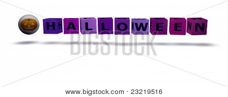 Color cubes with halloween word and a little pumpkin poster