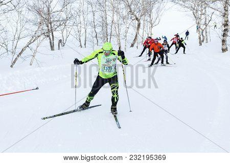 Petropavlovsk City, Kamchatka Peninsula, Russian Far East - February 10, 2018: Skiers Running On Ski
