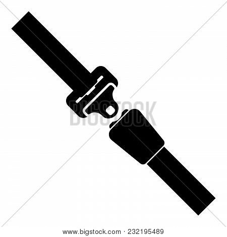 Seat Belt Icon Black Color Vector Illustration Flat Style Simple Image