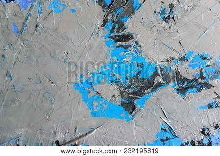 Background Of Natural Cement Plaster On The Wall Grey With A Blue Fragments Are Textured With Cracks