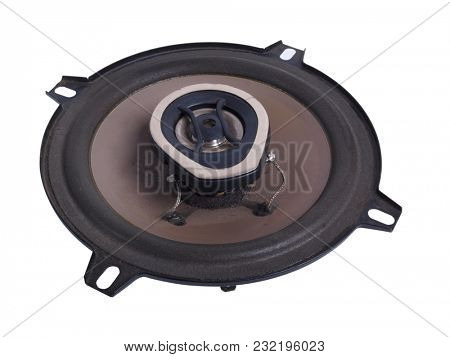 Electrical speakers on a white background