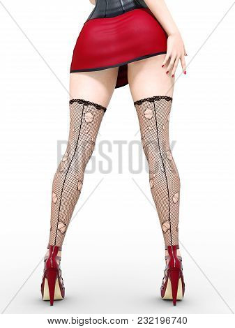 Long Slender Sexy Legs Woman.short Red Skirt.black Stockings Mesh.high Heels.office Secretary.provoc