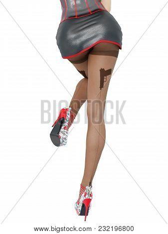 Woman Detective.dark Nylon Tights With Guns, Bullets And Trajectory Line.short Red Skirt Corset.fema