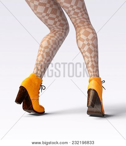 Beautiful Female Legs Woolen Leggings And Half-beads. Sexy Slim Female Legs Boots. Autumn-spring Col