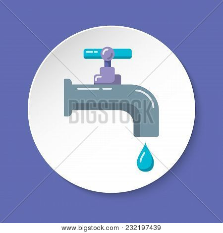 Water Tap Icon In Flat Style On Round Button. Colored Leaking Faucet With Liquid Drop. Water Economy