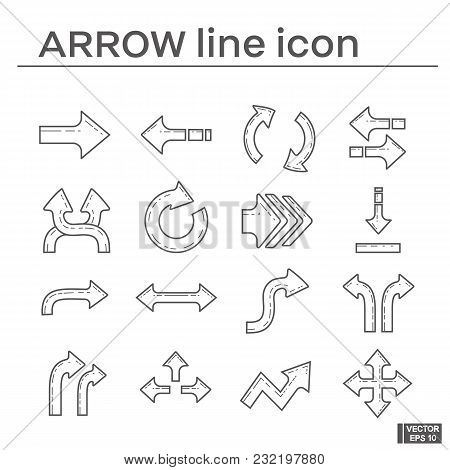 Vector Image. Set Of Line  Icons On The Theme Of Arrow. Black And White Outline Sign.