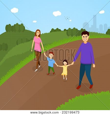 Happy Parents And Kids Walking In A Parkland. Seasonal Family Park Illustration.