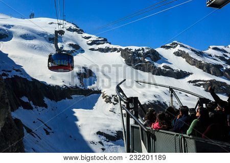 Mt. Titlis, Switzerland - May 28, 2017: A Gondola Of The Rotair Cable Car, View From The Station On
