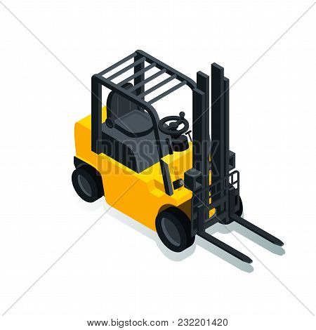 Forklift For Raising And Transporting Goods, Working Transport, Isometric Image