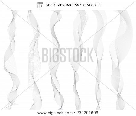 Set Of Abstract Gray Wave Isolated On White Background. White  Smoke Waves Delicate. Wave Lines Patt