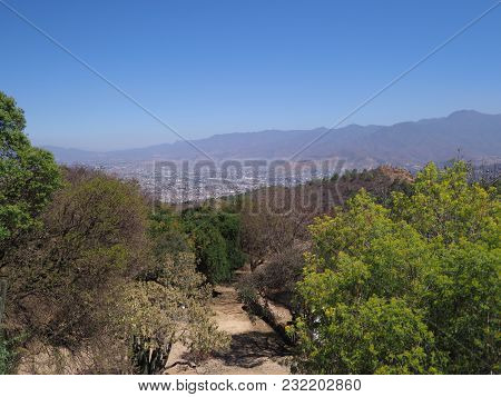 Scenic Mexican Mountainside Path And Landscapes With Colorful Plants And Trees Seen From Monte Alban