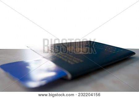 Passport With Ticket Close-up, Lost Passport At The Desk