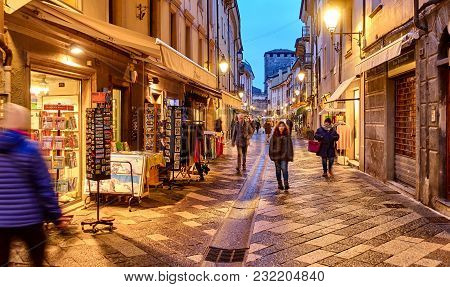 Aosta, Italy - March 5, 2018: The Main Street In The Historic Part Of The City On 5 March 2018 In Ao
