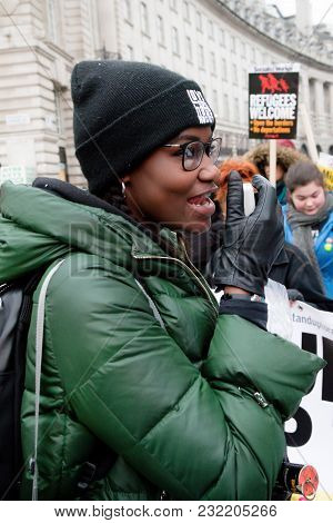 London, United Kingdom, 17th March 2018:- A Speaker At The Stand Up To Racism March Through Central