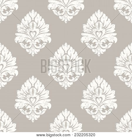 Vector Grunge Damask Seamless Pattern Background. Classical Luxury Old Fashioned Damask Ornament, Ro