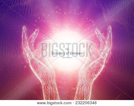 Vector Illustration Of Glowing Sphere In Two Hands. Concept Of Discovery Of Unknown, Shining Knowled