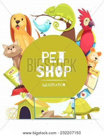 Pet Shop Background With Green Round Frame, Animals, Food, Medicines, Canine Home And Aquarium Vecto