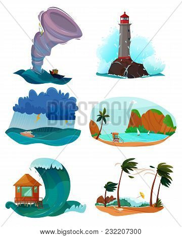 Seaside Landscapes Set With Wind And Sand Flat Isolated Vector Illustration