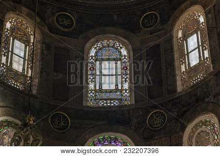 Istanbul, Turkey - September 11, 2017: These Are The Stained-glass Windows Of The Apse Of The Hagia