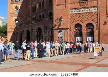 Madrid, Spain - May 24, 2017: These Are People Standing In Line For Tickets To Traditional Spanish E