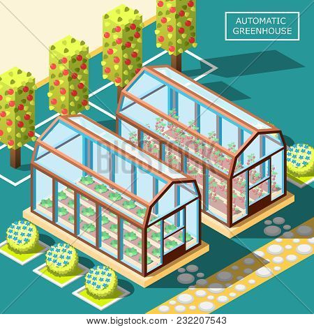 Agricultural Robots Isometric Poster With Two Glass Automatic Greenhouses For Growing Organic Vegeta