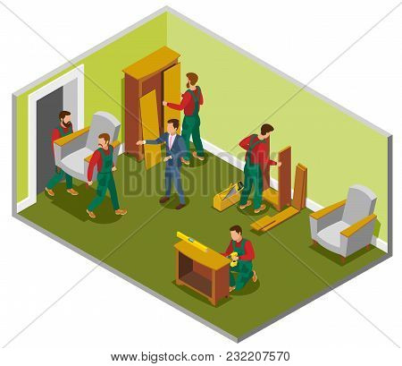 Furniture Delivery Isometric Composition Room With Makers During Assembly, Customer And Loaders Carr
