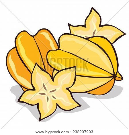 Isolate Ripe Starfruit Or Carambola On White Background. Close Up Clipart With Shadow In Flat Realis