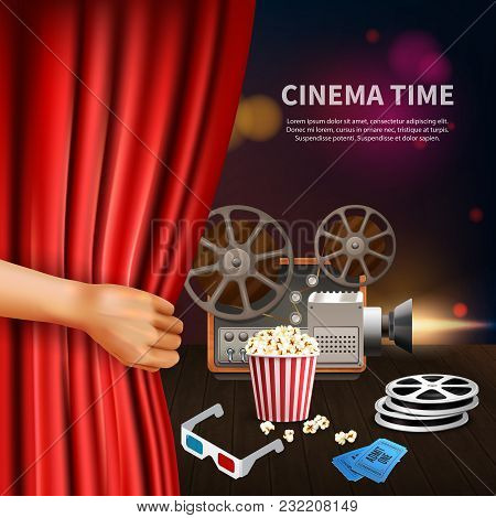 Realistic Cinema Time Background With 3d Glasses Camcorder Reels Tickets And Tickets Vector Illustra