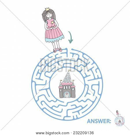 Children's Maze With Princess And Fairytale Castle. Puzzle Game For Kids, Vector Labyrinth Illustrat