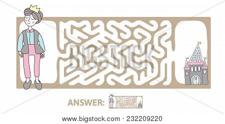Children's Maze With Prince And Fairytale Castle. Puzzle Game For Kids, Vector Labyrinth Illustratio