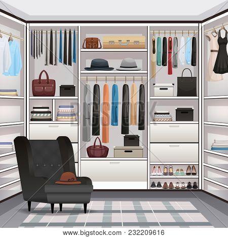 Storage Room Wardrobe Cloakroom Interior Organization With Adjustable Shelving Hanging Rails Shoe Ra