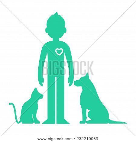 Animals Help. Man Love Pets Icon - Vector