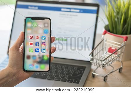 Bangkok, Thailand- October 5, 2018: Social Media App Multi-channel Icons On Iphone X Touchscreen Mob