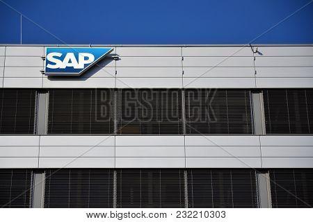 Prague, Czech Republic - March 20 2018: Sap Multinational Software Corporation Logo On Czech Headqua