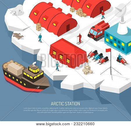 Arctic Meteorological Research Polar Station Isometric Poster With Cargo Ship Arrival Tracked Vehicl