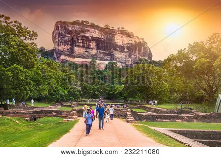 SIGIRIYA, SRI LANKA-DEC 26, 2016: Sigiriya Rock or Lion Rock is an ancient fortress near Dambulla on Dec 26, 2016, Sri Lanka. Sigiriya is a UNESCO World Heritage Site.