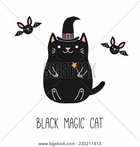 Hand Drawn Vector Illustration Of A Kawaii Funny Black Cat In A Witch Hat, Holding Magic Wand, With
