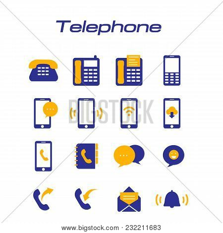Telephone Phone Icons White Background Vector Image
