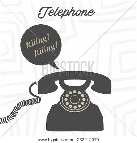 Telephone Retro Phone Ringing White Background Vector Image