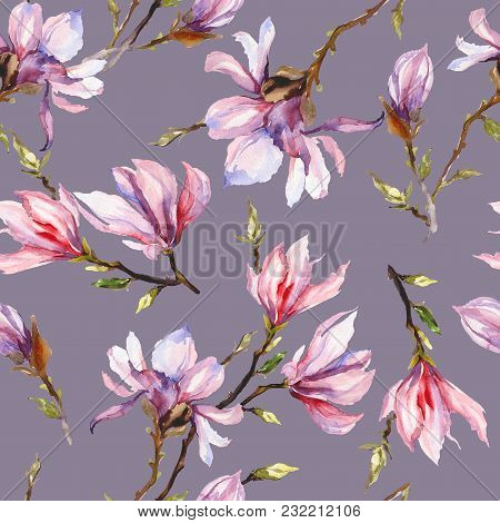 Pink Magnolia Flowers On A Twig On Grey Background. Seamless Pattern. Watercolor Painting. Hand Draw