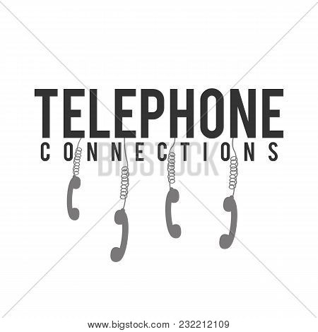 Telephone Connections Phone Hanging White Background Vector Image